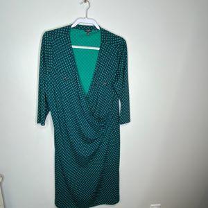 Talbots plus size green faux wrap dress